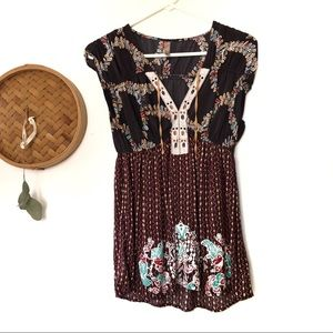 Free People Soft Brown and Maroon Embroidered Top
